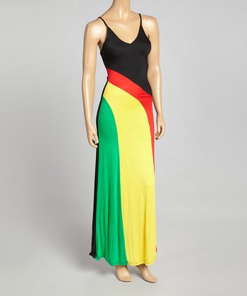 Red & Yellow Stripe Maxi Dress
