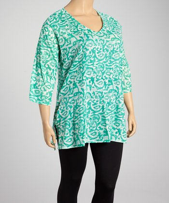 Aqua & White Paisley V-Neck Tunic - Plus