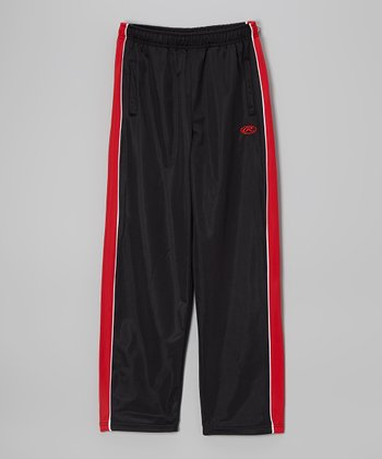 True Black & Red Track Pants - Boys