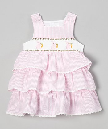 Pink Stripe Bunny Smocked Jumper - Infant & Toddler