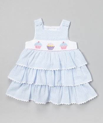 Blue Stripe Cupcake Smocked Jumper - Infant & Toddler