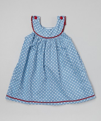 Blue Polka Dot Yoke Jumper - Infant, Toddler & Girls