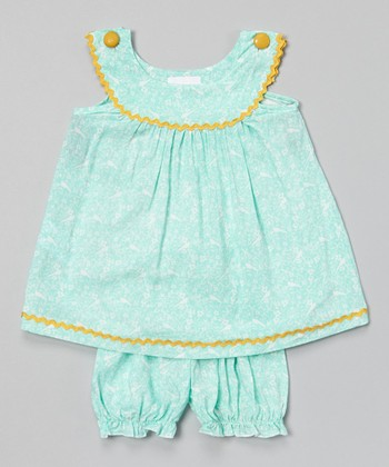 Turquoise Floral Yoke Top & Bloomers - Infant & Toddler