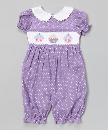Purple Polka Dot Cupcake Smocked Romper - Infant & Toddler