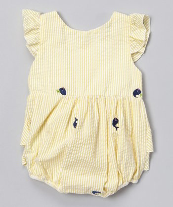 Yellow Stripe Whale Bubble Bodysuit - Infant