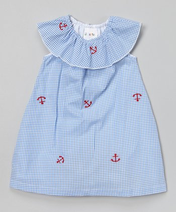 Blue Gingham Anchor Yoke Dress - Infant & Toddler