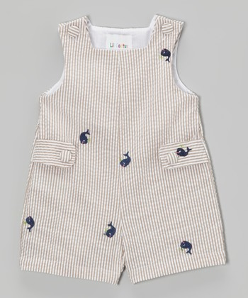 Gray Stripe Whale Shortalls - Infant & Toddler