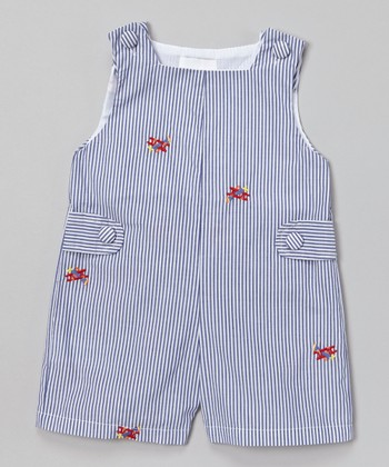 Blue Stripe Airplane Shortalls - Infant & Toddler