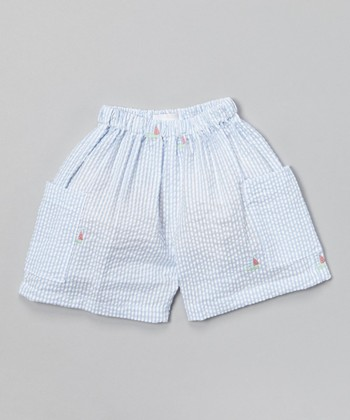 Blue Stripe Sailboat Shorts - Infant & Toddler