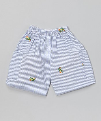 Blue Stripe Airplane Shorts - Infant & Toddler