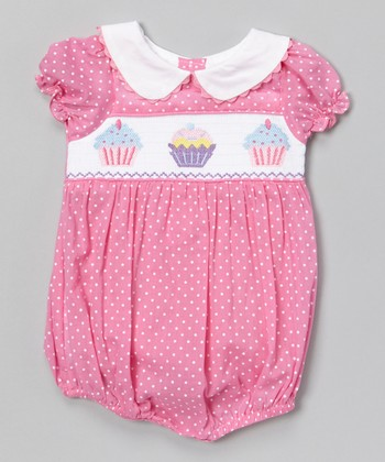 Pink Cupcake Smocked Bubble Bodysuit - Infant