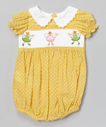 Yellow Fairy Smocked Bubble Bodysuit - Infant