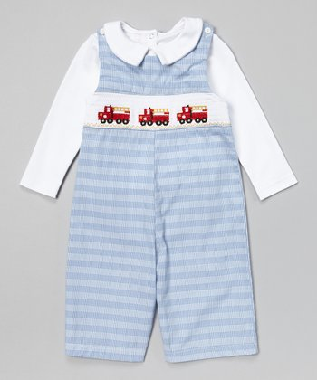 Blue Plaid Fire Truck John Johns & White Top - Infant & Toddler