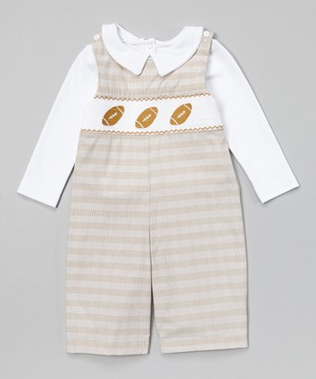 Gray Plaid Football John Johns & White Top - Infant & Toddler
