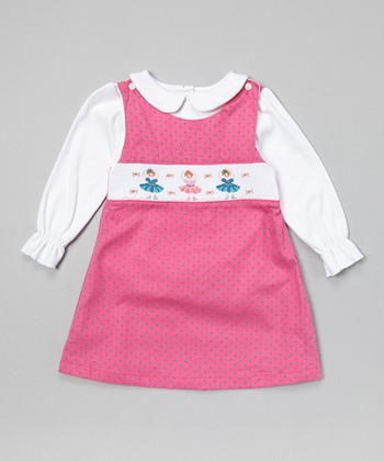 Pink Ballerina Smocked Jumper & White Top - Toddler & Girls