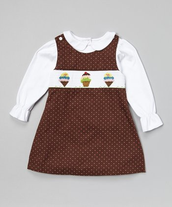 Brown Ice Cream Smocked Jumper & White Top - Toddler & Girls