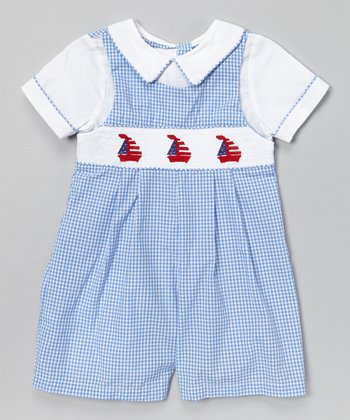 Blue Gingham Sailboat Smocked Romper - Infant & Toddler