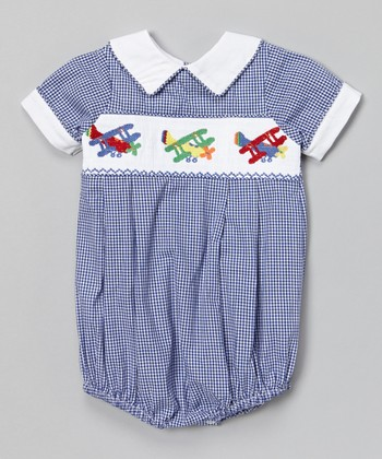 Blue Gingham Airplane Smocked Bubble Bodysuit - Infant & Toddler