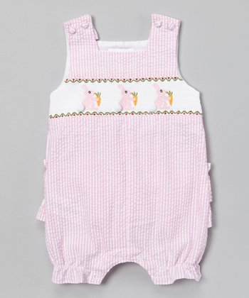 Pink Stripe Bunny Smocked Shortalls - Infant & Toddler