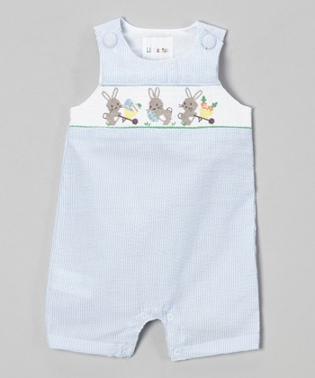 Blue Stripe Bunny Smocked Shortalls - Infant & Toddler