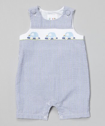 Navy Stripe Car Smocked Shortalls - Infant & Toddler