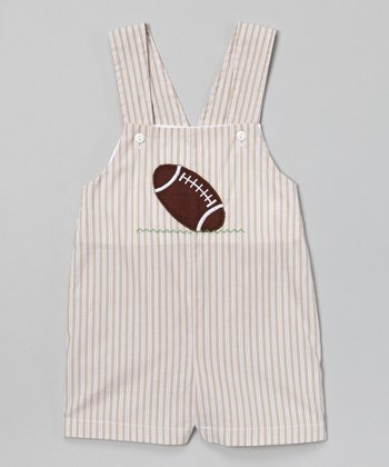 Gray Stripe Football Shortalls - Infant & Toddler