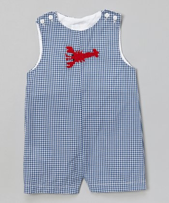 Blue Gingham Lobster Shortalls - Infant & Toddler