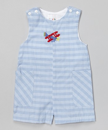 Blue Plaid Airplane Shortalls - Infant & Toddler