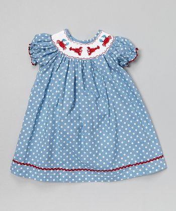 Blue Polka Dot Lobster Bishop Dress - Infant & Toddler