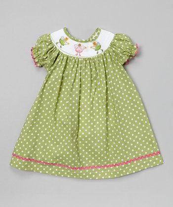 Green Polka Dot Fairy Bishop Dress - Infant & Toddler