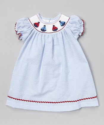 Blue Stripe Sailboat Bishop Dress - Infant & Toddler