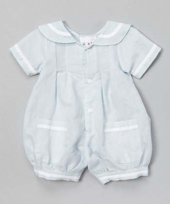 Light Blue & White Stripe Romper - Infant