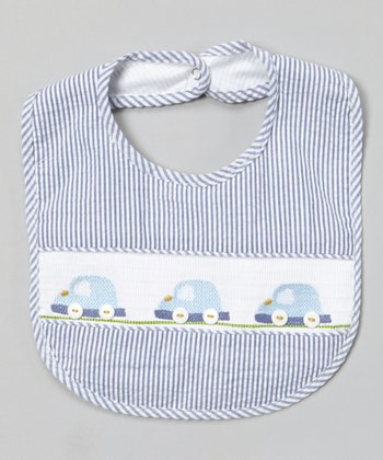 Blue Stripe Car Smocked Bib