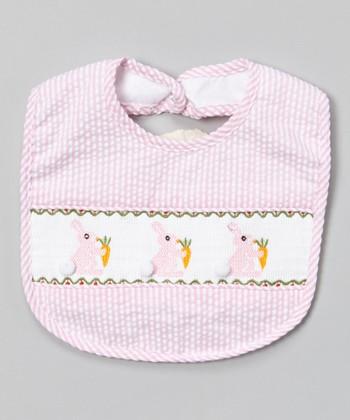 Pink Stripe Bunny Smocked Bib