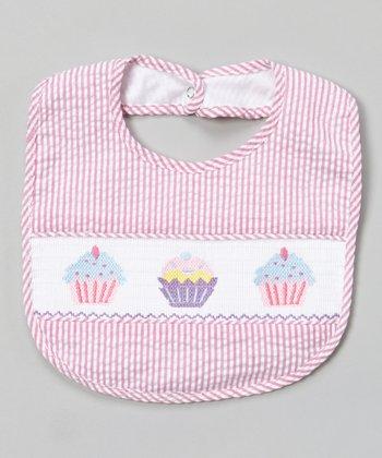 Pink Stripe Cupcake Smocked Bib