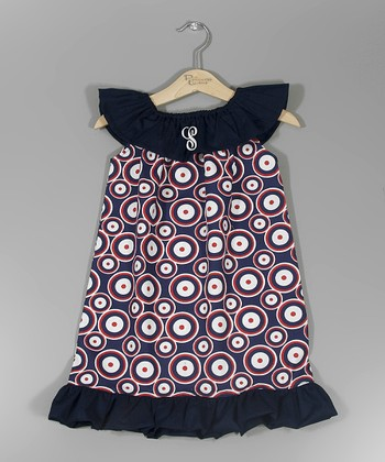 Navy & Red Polka Dot Initial Dress - Infant, Toddler & Girls