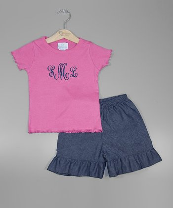 Pink Monogram Tee & Denim Shorts - Toddler & Girls