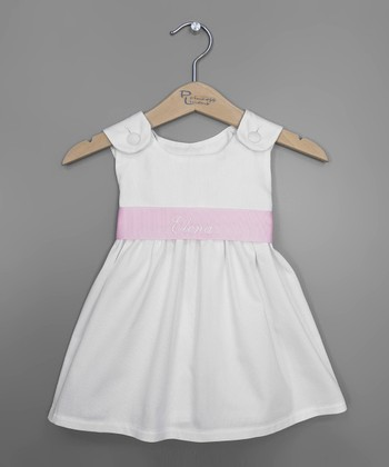 White & Pink Personalized Sash Jumper - Infant, Toddler & Girls