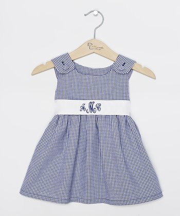 Navy Gingham Monogram Sash Jumper - Infant, Toddler & Girls