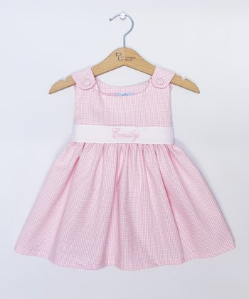 Pink Gingham Personalized Sash Jumper - Infant, Toddler & Girls