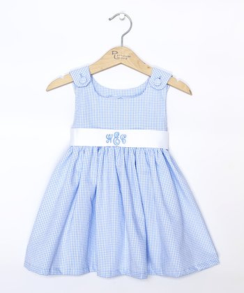 Blue Gingham Monogram Sash Jumper - Infant, Toddler & Girls