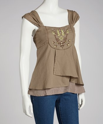 Taupe Embroidered Sleeveless Top