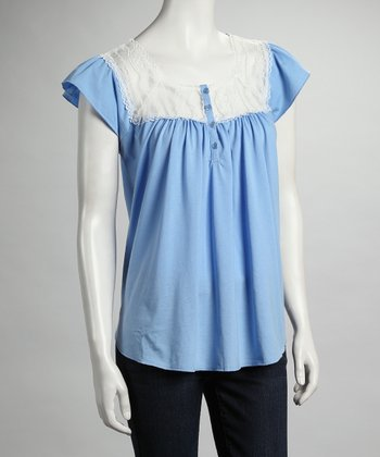 Blue Lace Cap-Sleeve Top