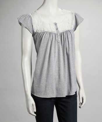 Gray Lace Cap-Sleeve Top