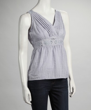 Gray Surplice Pleated Tank