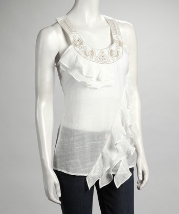 White Ruffle Yoke-Neck Top