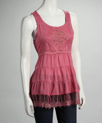 Pink Embroidered Lace Sleeveless Top