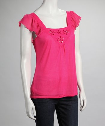 Fuchsia Angel-Sleeve Top