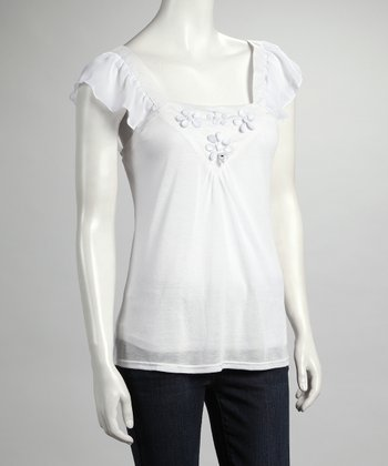 White Angel-Sleeve Top