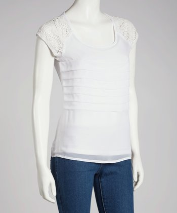 White Crocheted Tier Top